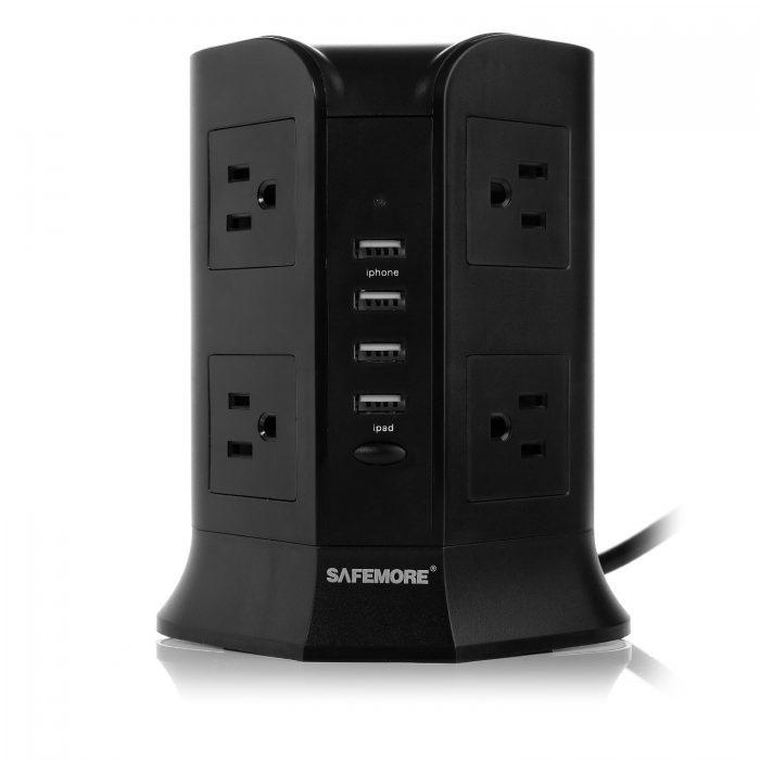Iselector 8插座 + 4 USB智能充电 电涌保护插线板 31.99元限量特卖,原价 46.99元,包邮