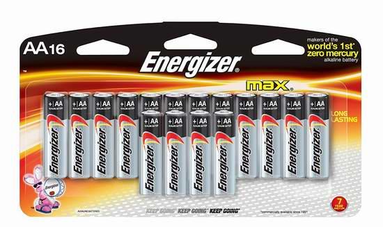 售价大降!历史新低!Energizer 劲量 Max AA 高能碱性电池16颗装2.6折 6.47元限时清仓!