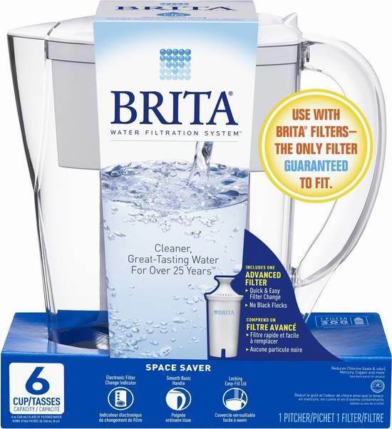 销量冠军!Brita 德国碧然德 35250 6杯量家用滤水壶4.3折 17.77加元!2色可选!