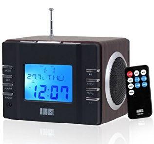 August MB300B 迷你便携式FM收音/闹钟/MP3播放/可充电立体声音箱 23.8元限量特卖,原价 35.37元