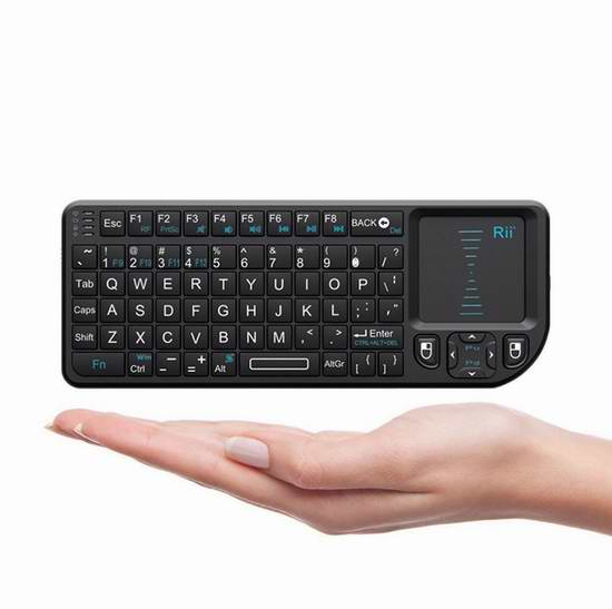 Rii K01X1 2.4GHz 带触摸板无线多媒体迷你键盘 17.69加元限量特卖!