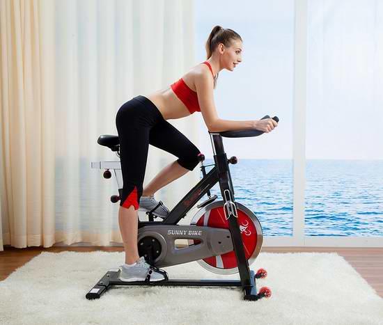 历史新低!Sunny Health & Fitness SF-B1002 皮带版 豪华静音家用动感健身自行车 396元限时特卖并包邮!