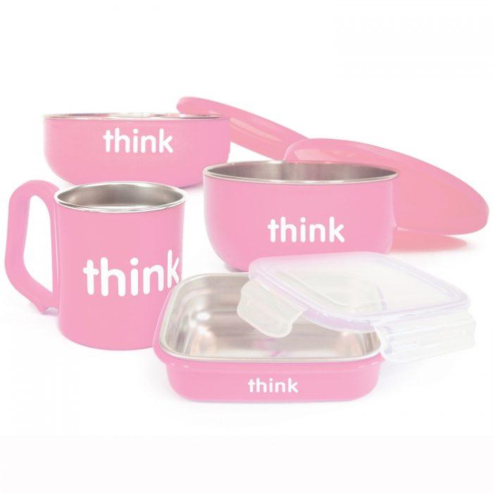 Thinkbaby 粉色儿童餐具 42.38元,原价 57.03元,包邮