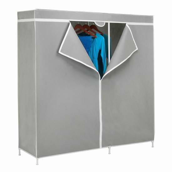 速抢!售价大降!历史新低!Honey-Can-Do WRD-03746 60英寸钢结构简易衣柜2.2折 24.99元限时清仓!