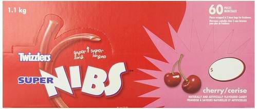 Twizzlers 多乐滋 Super Nibs 樱桃味 低脂肪低卡低糖 扭扭糖1.1公斤装(60pcs)5折 5.17元限量特卖!