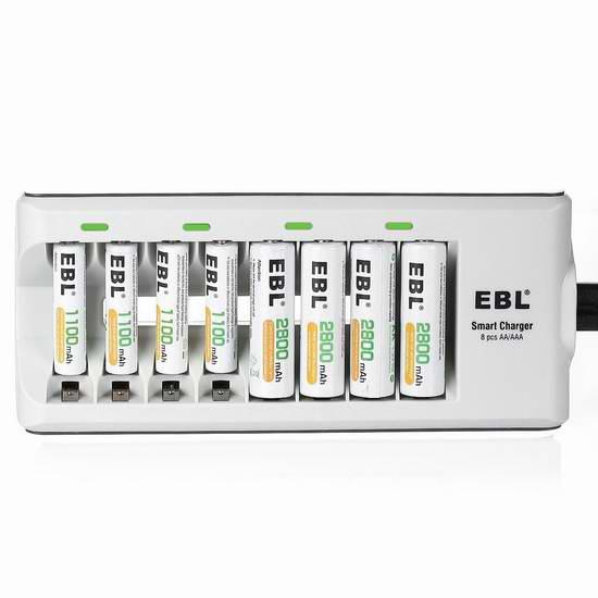 EBL 8通道电池充电器+8只AA/AAA镍氢充电电池套装 28.04加元!