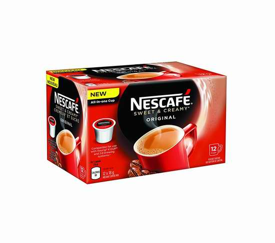 历史新低!Nescafé 雀巢 香甜奶油原味 K-Cup 咖啡胶囊(72杯装)2.8折 18.61加元限时清仓!