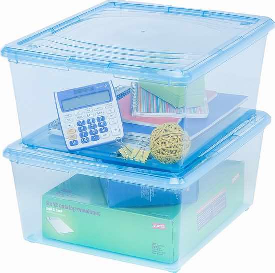 售价大降!历史新低!IRIS 21夸脱透明浅蓝色储物箱14件套(7个箱)3折 29.52加元限时清仓!