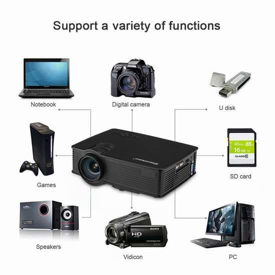 Excelvan 迷你1200流明 1080P 3D LED 家庭影院投影仪 73.09加元限量特卖并包邮!