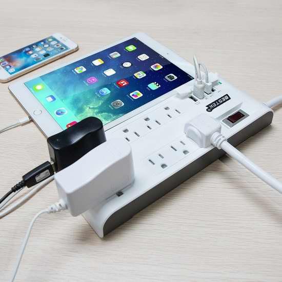 BESTEK 8 插座 + 4 USB智能充电 6.6英尺 电涌保护插线板 23.99加元限量特卖!