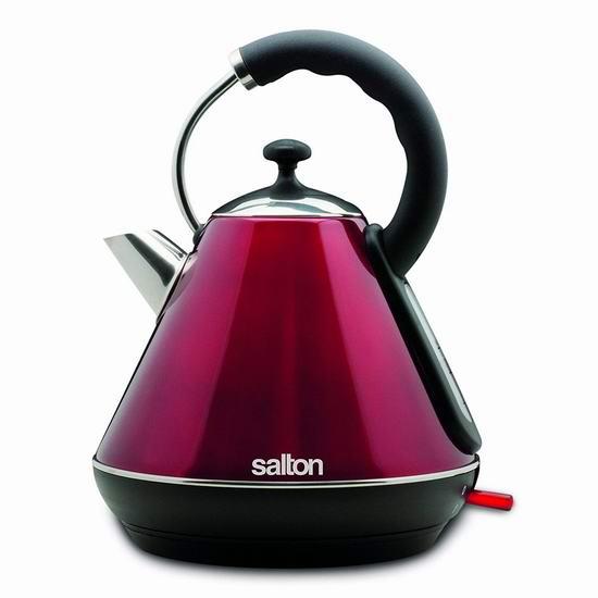 历史新低!Salton JK1570 1.8升 时尚金属红 无绳不锈钢电热水壶4.5折 29.88加元!