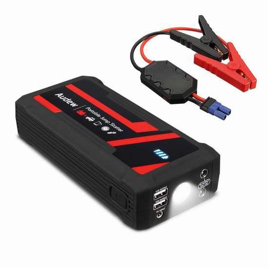AUDEW 16800mAh 便携式移动电源/充电宝/手电筒/汽车电瓶紧急启动电源 95.19加元限量特卖并包邮!