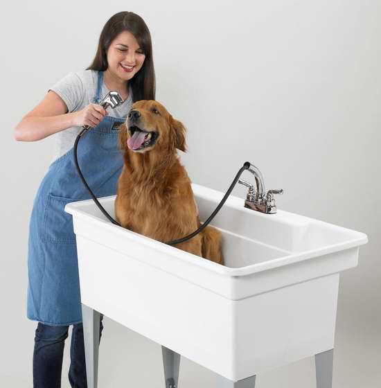 历史新低!Mustee 28CF 多用途水槽/宠物浴缸+水龙头 组合套装 244.44加元限时特卖并包邮!
