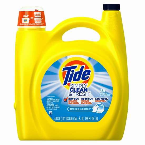 Tide 汰渍 Simply Clean 洗衣液4.08升(89缸)装 8.54加元包邮!一次购4瓶,单价降为8.09加元包邮!