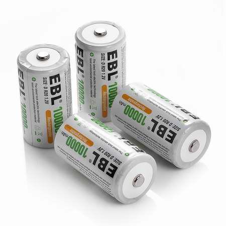 EBL 5000/10000mAh Ni-Mh C号/D号镍氢充电电池4只装 21.24-30.59加元限量特卖!