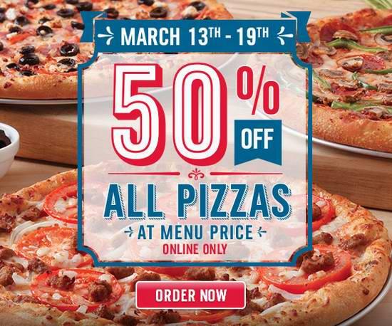 Domino's Pizza 在线下单订购披萨,享受半价优惠!