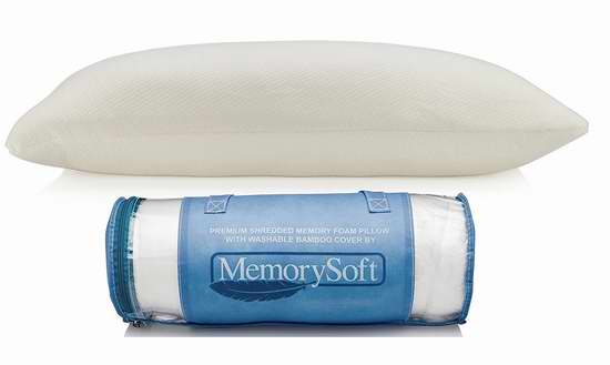 MemorySoft 高级记忆海绵 竹纤维薄型枕头 21.22加元限量特卖!
