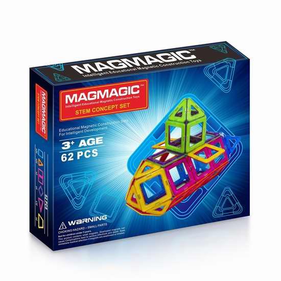历史新低!Magmagic 益智磁力积木62件套3.2折 30.99加元!