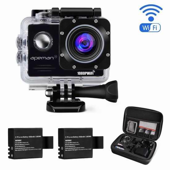 APEMAN 1080P 全高清超大广角无线WiFi运动摄像机+双锂电池+支座附件套装 72.24加元限量特卖并包邮!