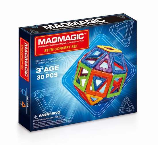 Magmagic 益智磁力积木30件套3.2折 21.59加元限量特卖!