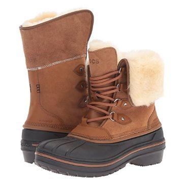 白菜价!Crocs AllCast II 女式豪华羊毛真皮冬靴(5码)2.1折 38.18加元包邮!