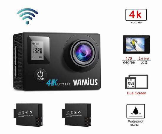 WiMiUS 高清超大广角无线WiFi运动摄像机/行车记录仪+双锂电池+支座附件套装 45.04-59.49加元限量特卖并包邮!1080P/4K 3款可选!