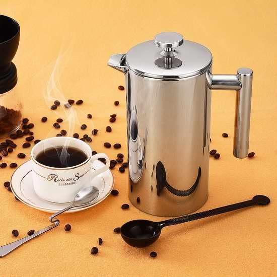 Patec 1000ml 不锈钢双壁 法式/法压咖啡/茶水 滤压壶 30.59加元限量特卖并包邮!