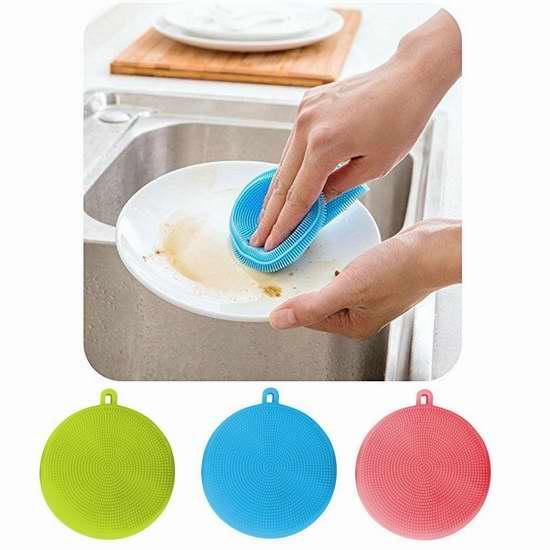 newhsyours 柔性抗菌不沾油硅胶洗碗刷3件套 14.43加元限量特卖!