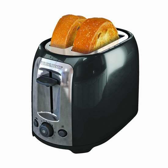 BLACK+DECKER TR1278BD 2片烤面包机 19.99加元!