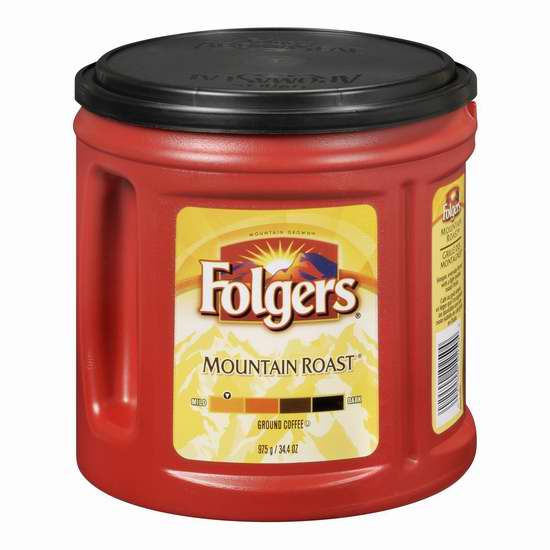 Folgers 福爵 Mountain Roast 烘焙咖啡 7.59加元,原价 10.97加元
