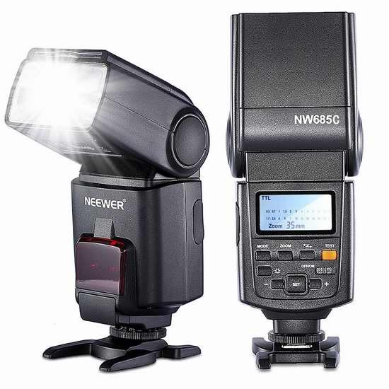 售价大降!历史新低!Neewer NW685C E-TLL II 高速同步Canon单反相机专用闪光灯3折 34.67加元限时清仓!