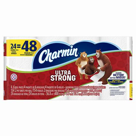 Charmin 双层超强卫生纸24卷 13.28-13.98加元!