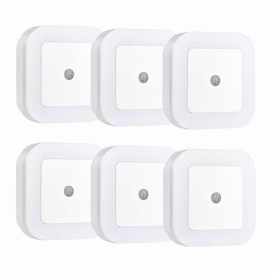 Patec 智能光控感应节能小夜灯6件套 18.99加元限量特卖!