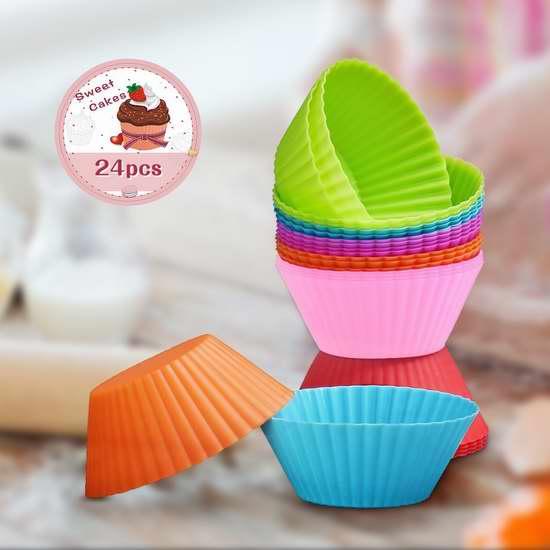 Patec 食品级可重复使用硅胶蛋糕杯24件套 12.74加元限量特卖!