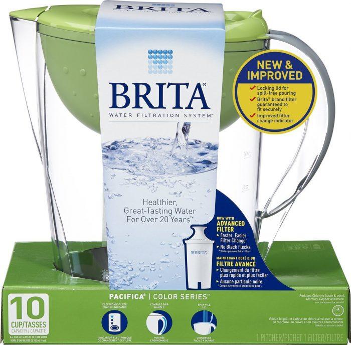 健康饮水必备!Brita Pacifica 10杯绿色滤水壶 25.99加元(3色),原价 37.47加元
