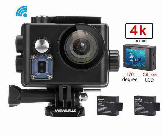 WiMiUS Q3 4K 超高清超大广角无线WiFi运动摄像机+双锂电池+支座套装 56.79加元限量特卖并包邮!2色可选!