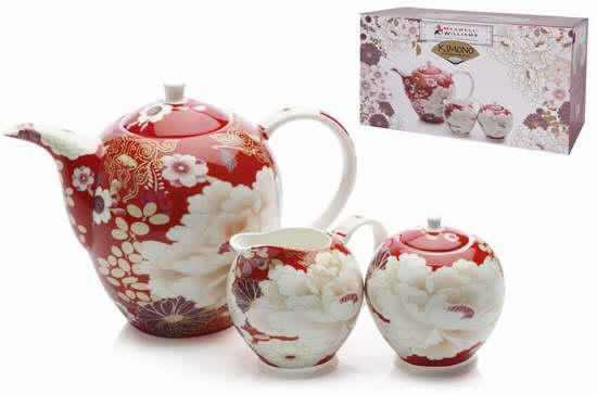 历史新低!Maxwell & Williams Kimono 精美印花骨瓷茶具3件套2.8折 33.17加元限时清仓!