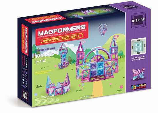 Magformers Inspire 磁力积木100片套装3.8折 105.43加元包邮!