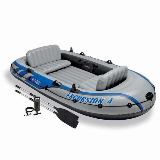 Intex Excursion 4人坐充气船/橡皮艇/钓鱼船 179.99加元包邮!6月父亲节周末安省免费钓鱼!