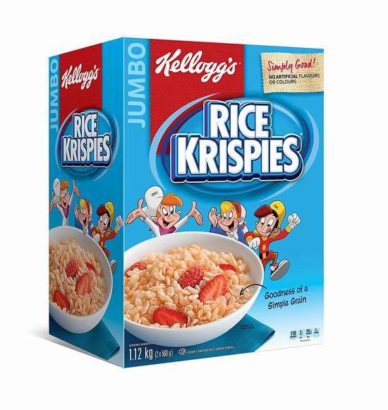 Kellogg's Rice Krispies 早餐速食营养麦片1.12公斤超大家庭装  6.98加元限时特卖!