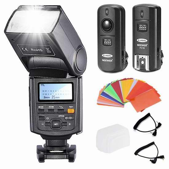 历史新低!Neewer NW685C E-TTL II 高速同步 1/8000s HSS Canon单反相机专用闪光灯超值套装 58.16加元限时清仓并包邮!