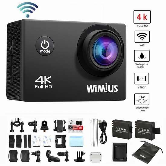 WiMiUS 16MP  4K超高清超大广角无线WiFi运动摄像机 51.84-56.07加元限量特卖并包邮!两色可选!