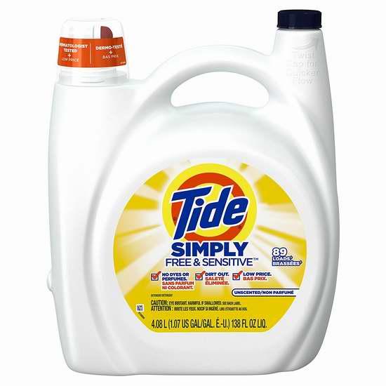 Tide 汰渍 Simply 无香抗过敏洗衣液(4.08升 89缸) 8.52加元!购4瓶单价降为8.07加元并包邮!