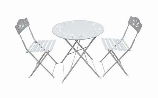 历史新低!Alpine Metal Bistro 白色金属折叠桌椅3件套 102.63加元包邮!