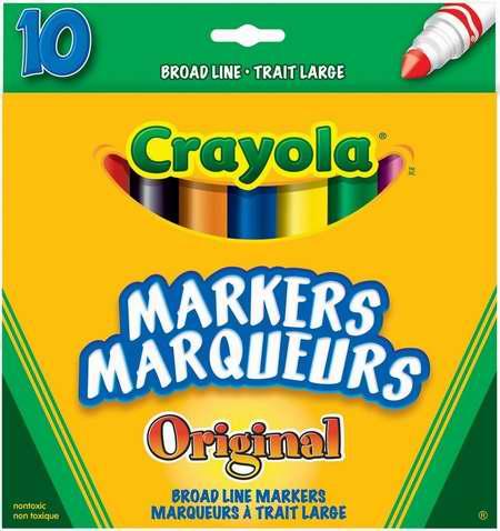 历史新低!Crayola 绘儿乐 Broad Line 彩色马克笔10支装 1.25加元!