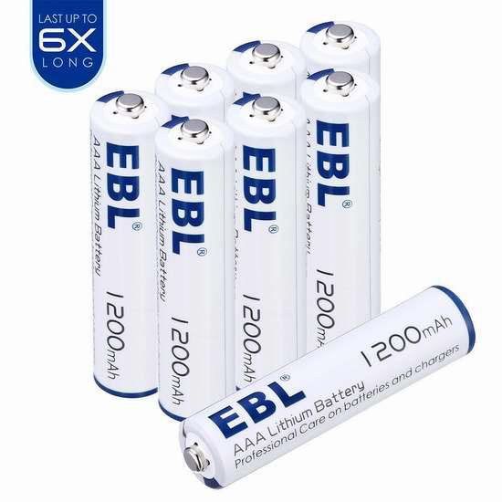 EBL 1200/3000mAh AA/AAA 锂电池8只装 16.99-20.39加元限量特卖!