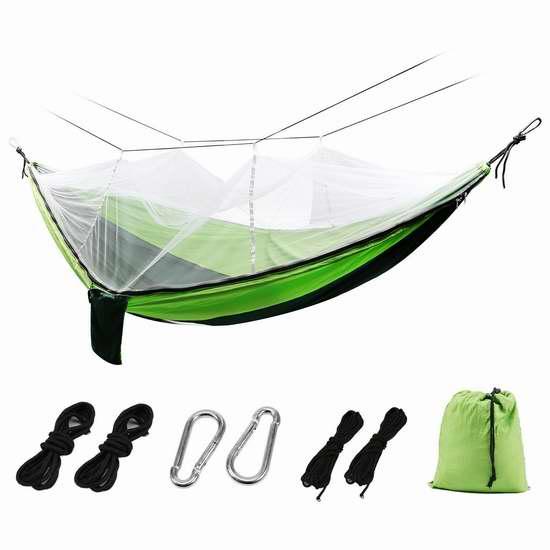 历史新低!FSDUALWIN 便携式双人吊床+蚊帐 21.59加元包邮!2色可选!