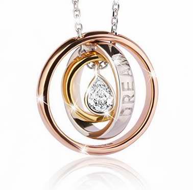 J.Rosée 梦幻水滴水晶 纯银三环项链 15.99加元,原价 35.99加元