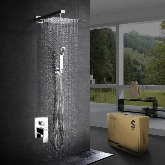 SR SUN RISE CA-F5043 12寸 豪华壁挂式淋浴花洒+喷头+水阀套装 237.15-282.59加元包邮!3色可选!
