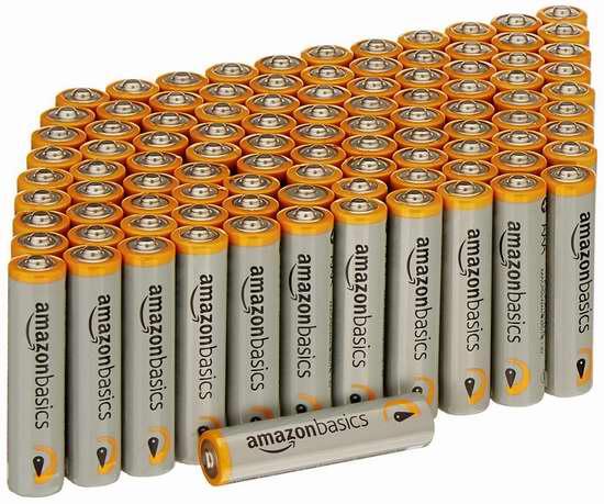 AmazonBasics AAA Alkaline 高性能碱性电池(100只)超值装6.5折 18.83加元!